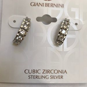 NWT! Giani Bernini sterling CZ silver half hoops.